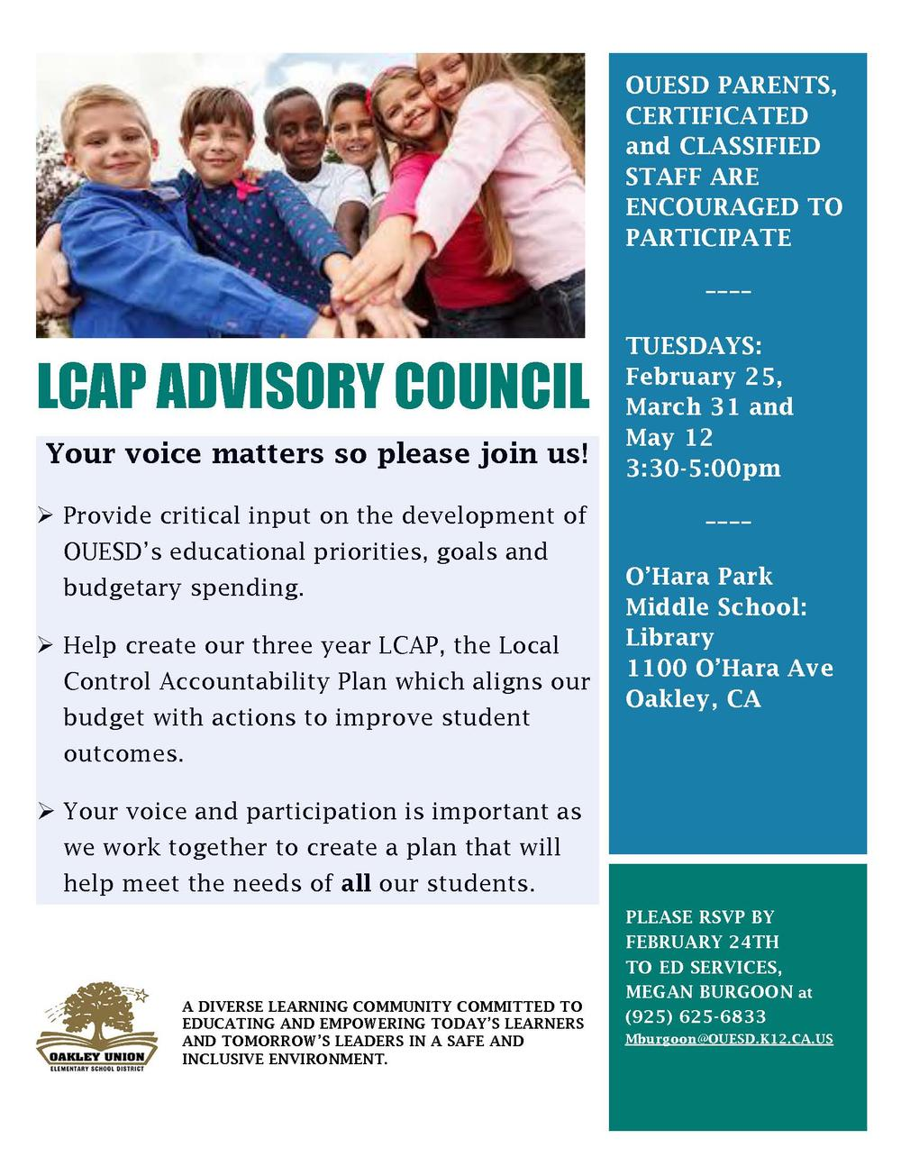 LCAP Advisory Council Flyer